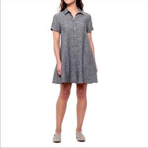 Tahari Gray Linen Loose Fit Shirtdress Button Down